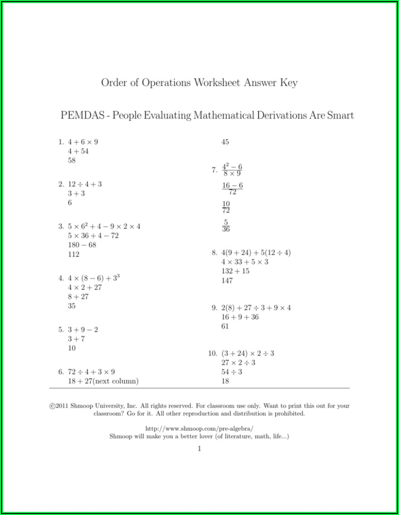 Order Of Operations Pemdas Worksheet Answer Key