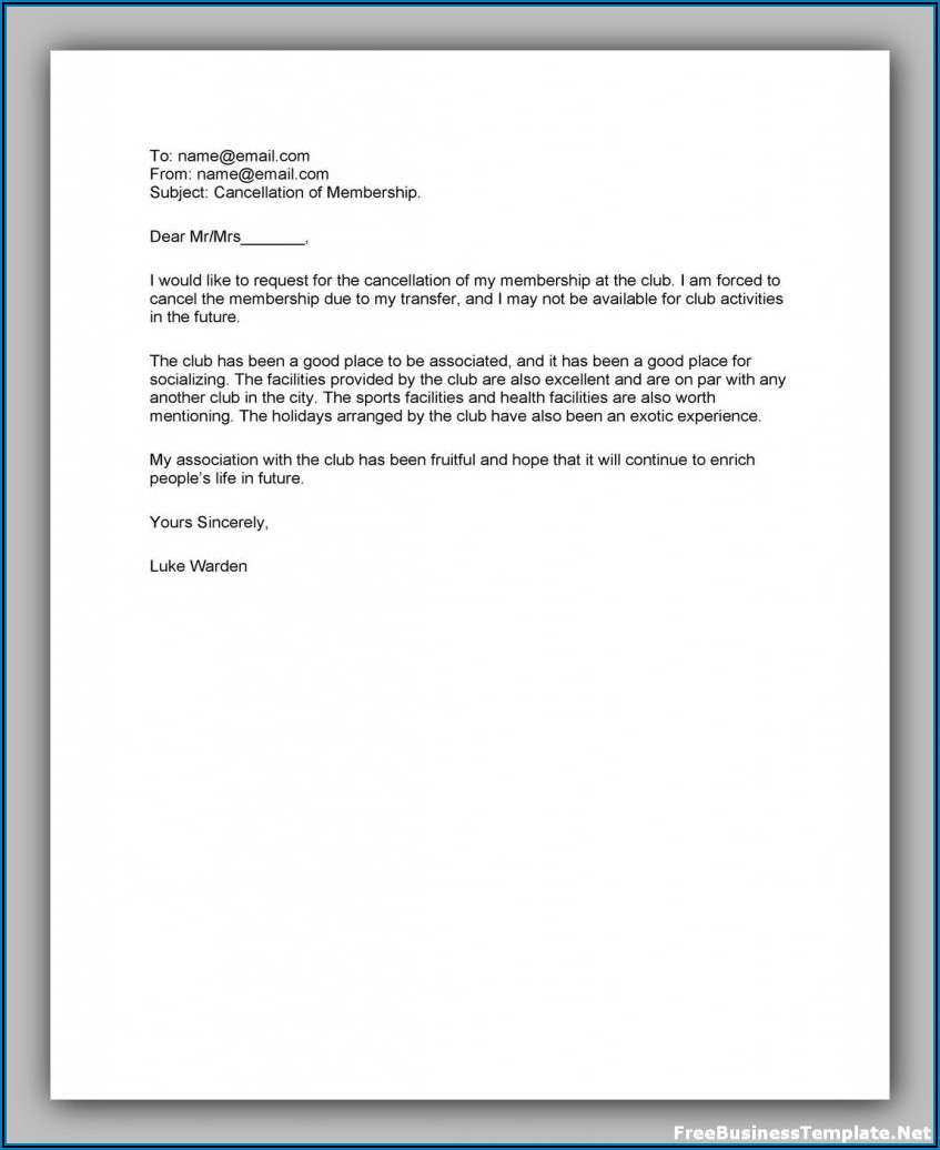 Planet Fitness Cancellation Letter Pdf