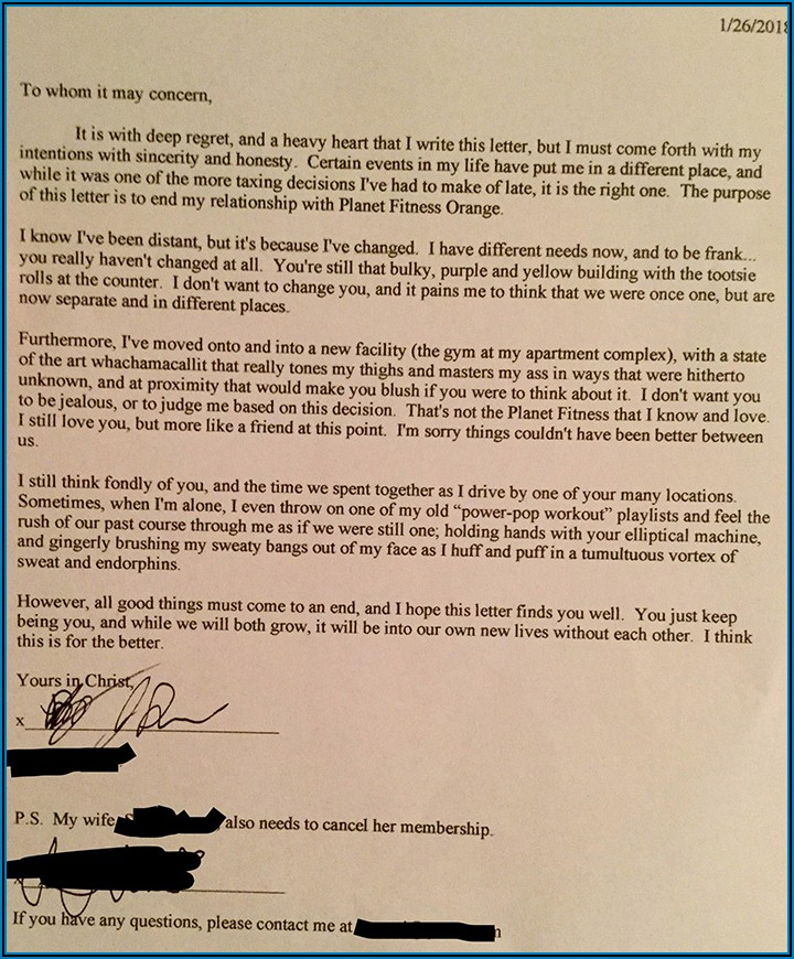 Planet Fitness Membership Cancellation Letter Template