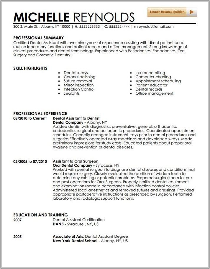 Registered Dental Assistant Resume Examples