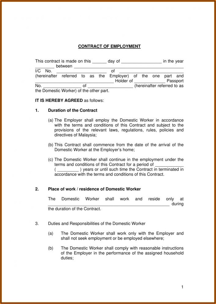 Restaurant Employment Contract Template South Africa