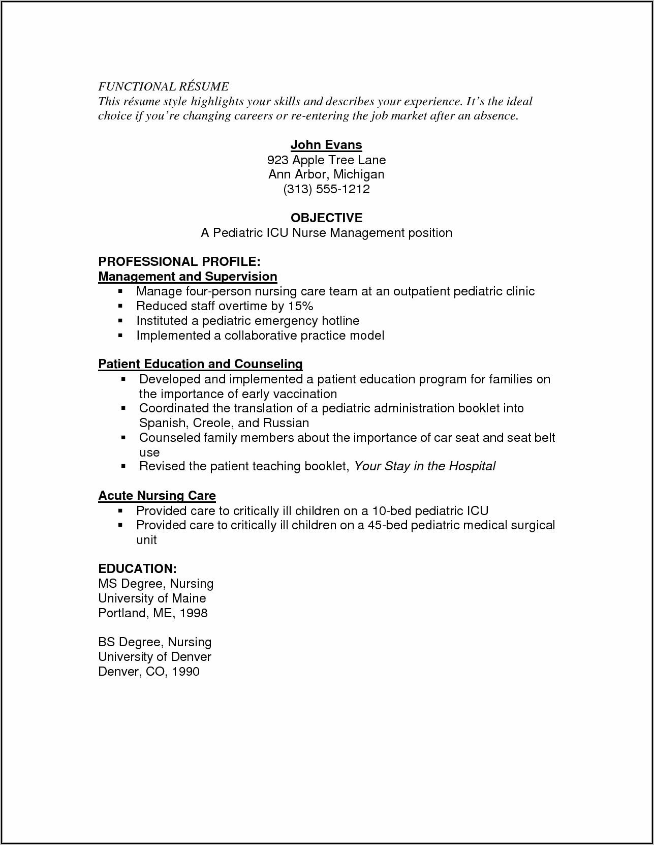Resume For Registered Nurse Position