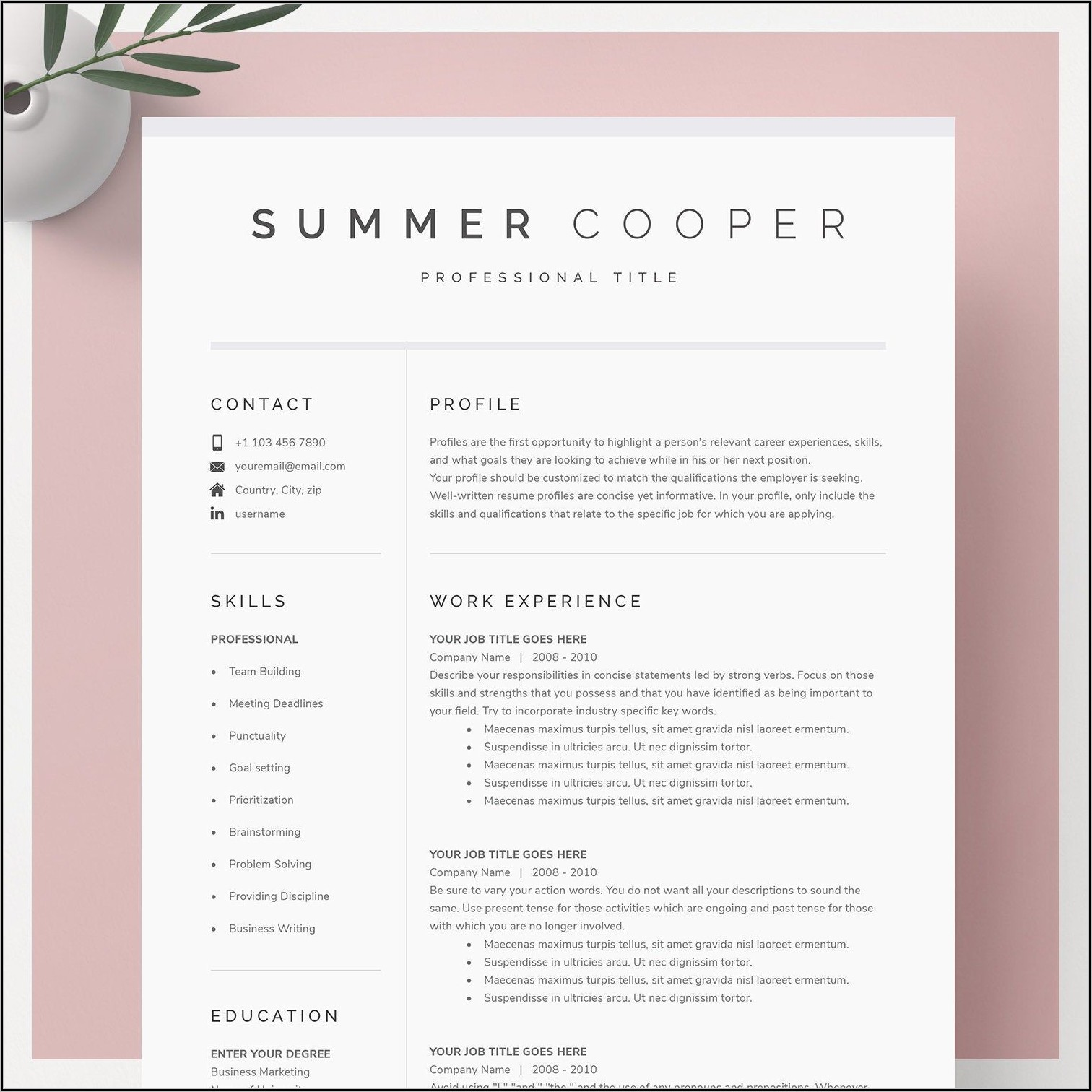 Resume Template For Mac Word