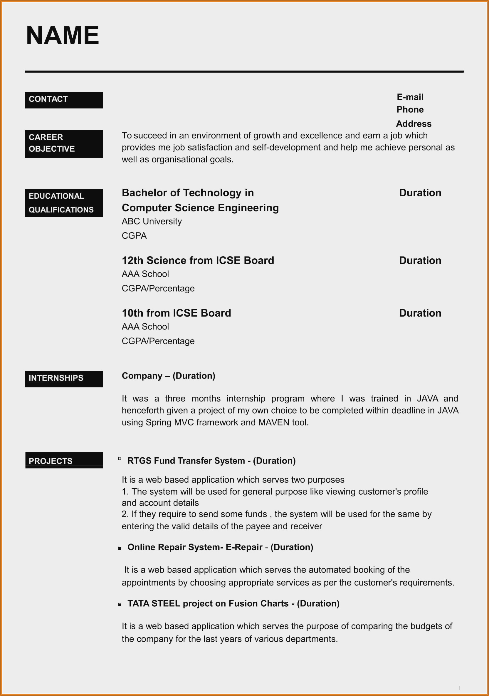 Resume Templates Word For Experienced Free Download