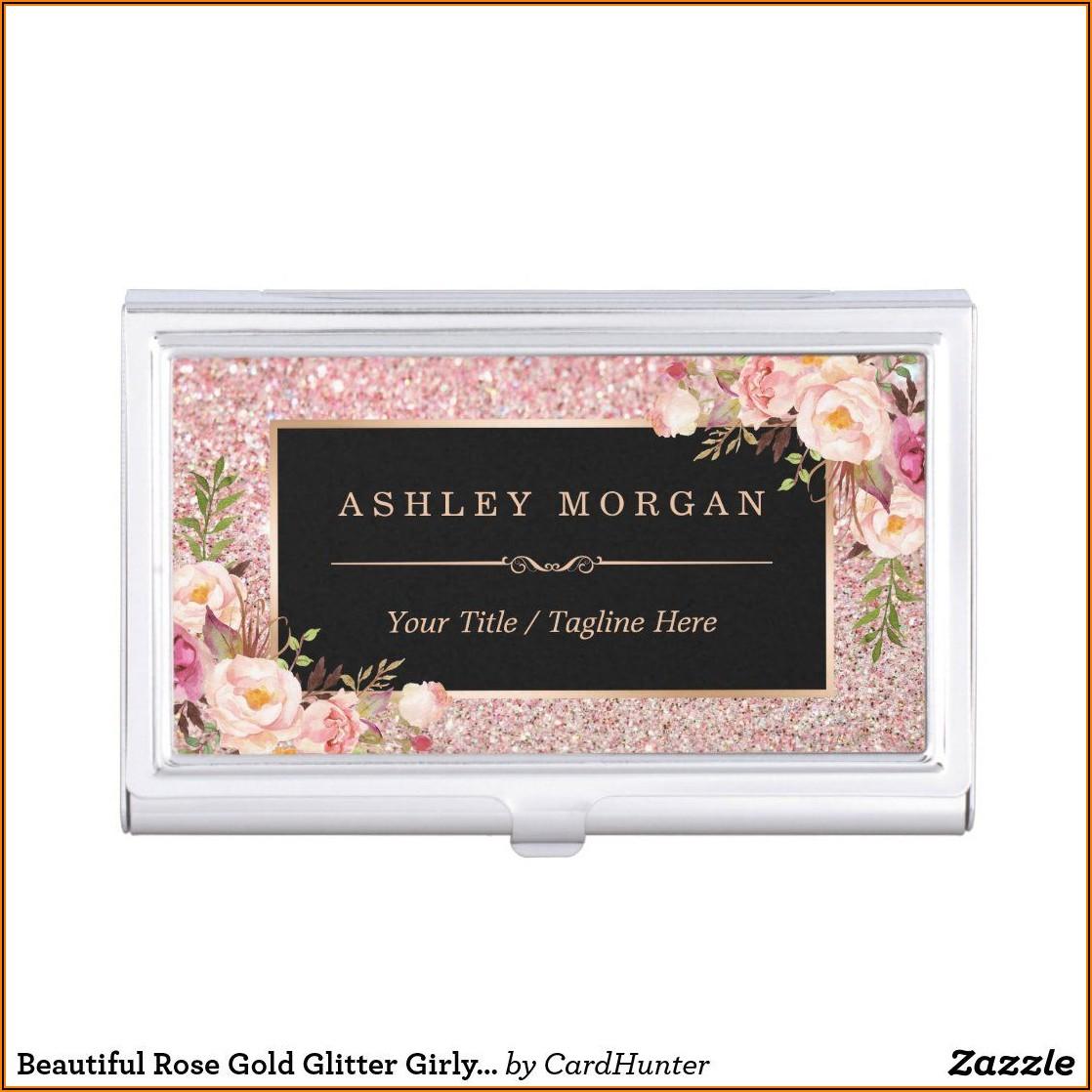 Rose Gold Glitter Business Card Holder