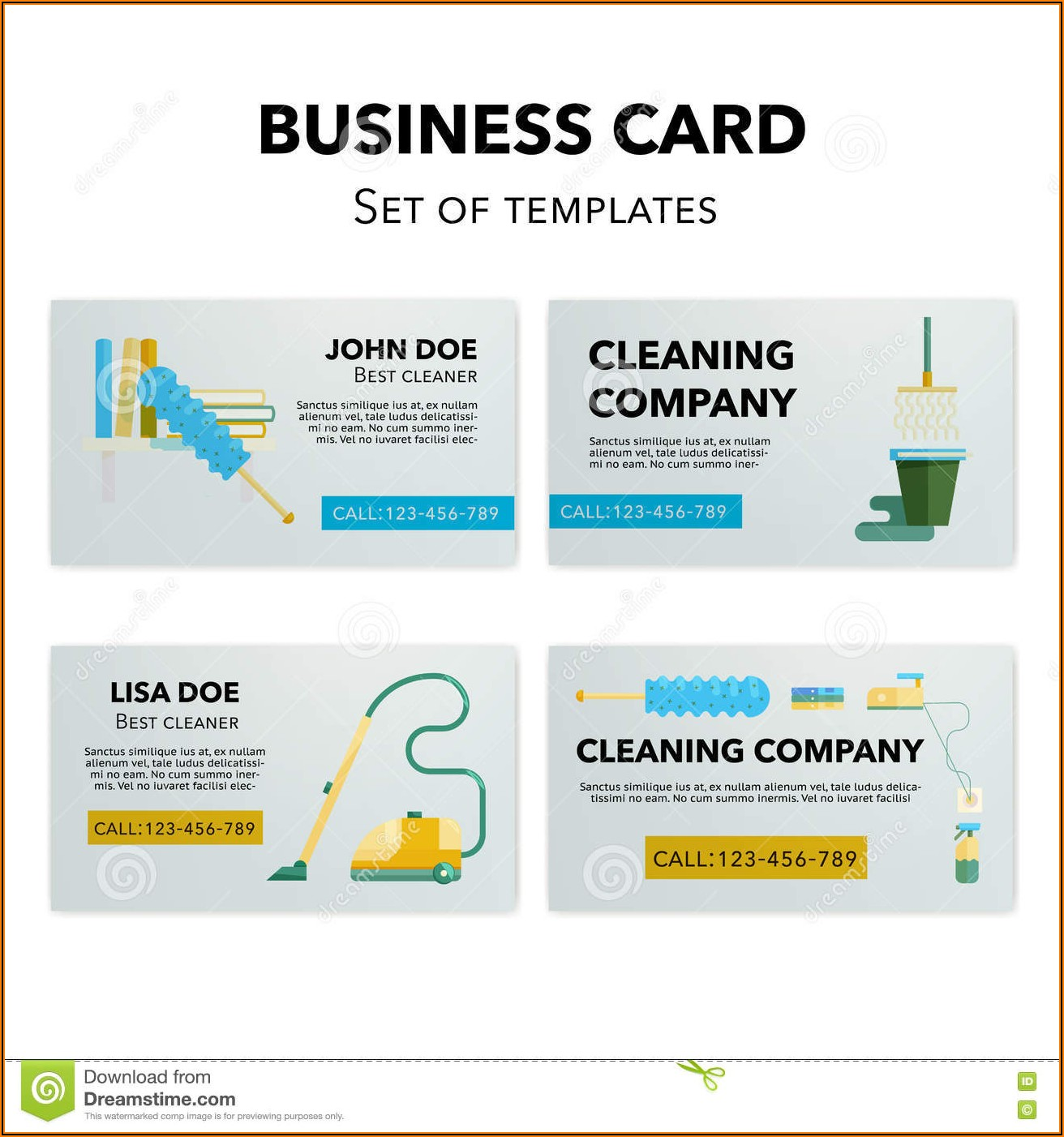 Sample Cleaning Service Business Cards