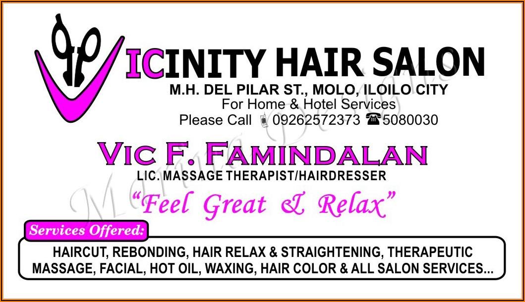 Sample Hair Salon Business Cards