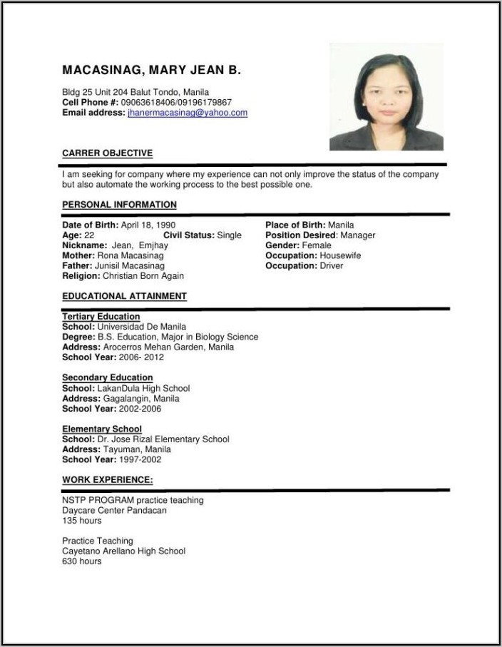 Sample Of Simple Resume For Job Application