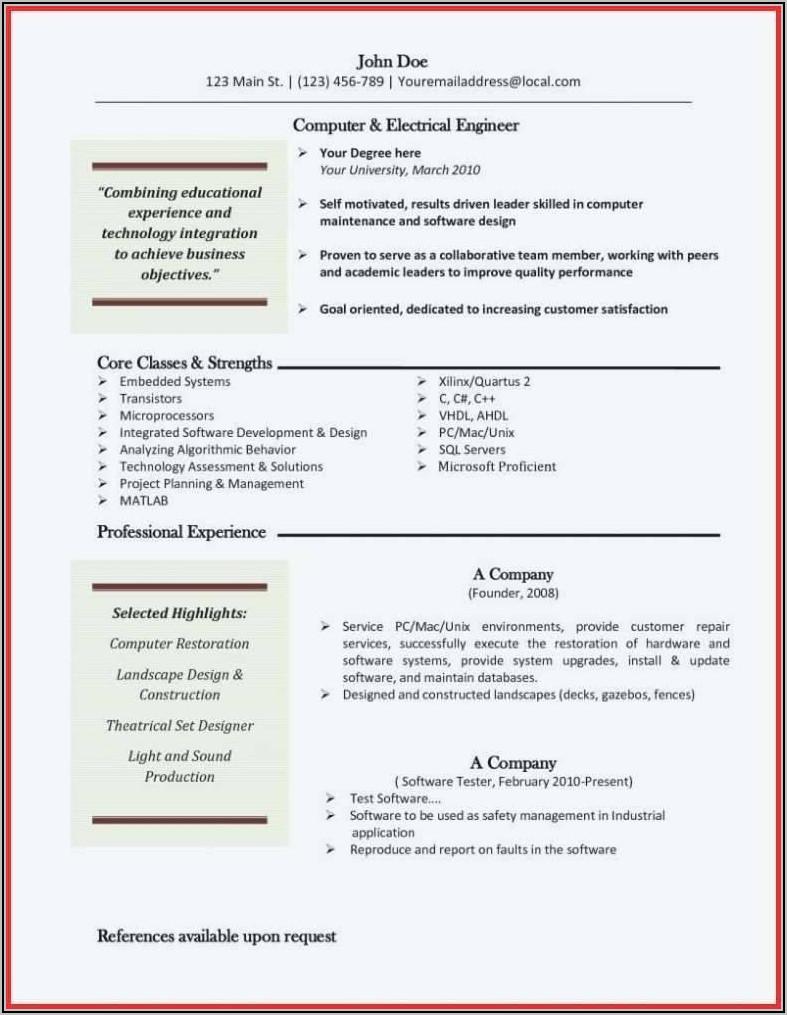 Sample Resume For Machinist Operator