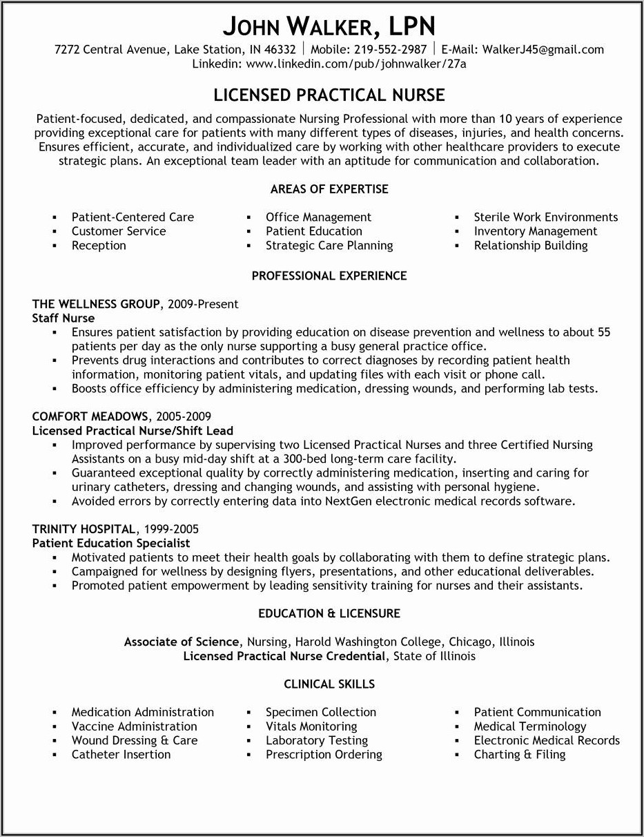 Sample Resume For Registered Practical Nurse With No Experience