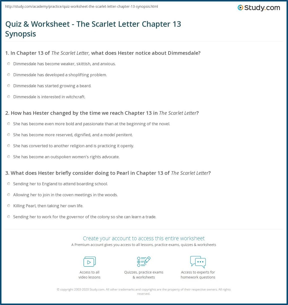Scarlet Letter Chapter 13 Quiz