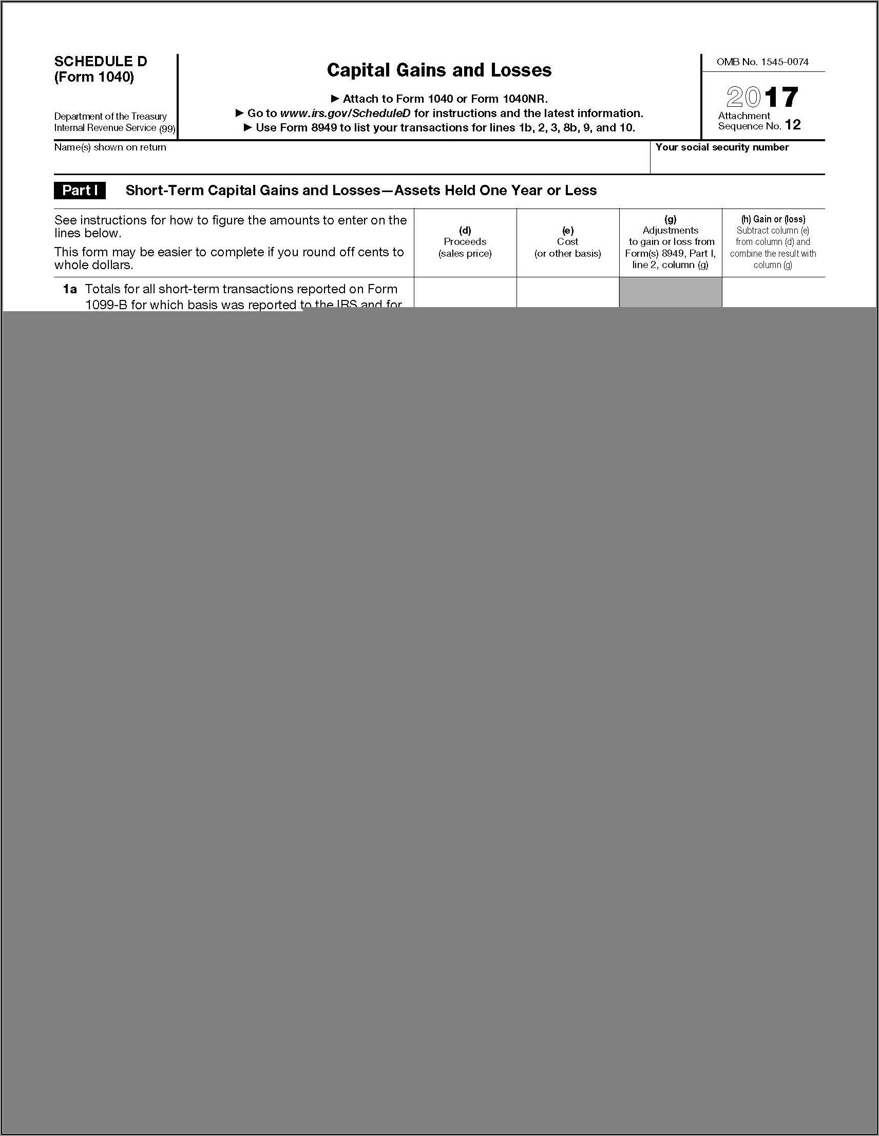 Schedule D Tax Worksheet Instructions