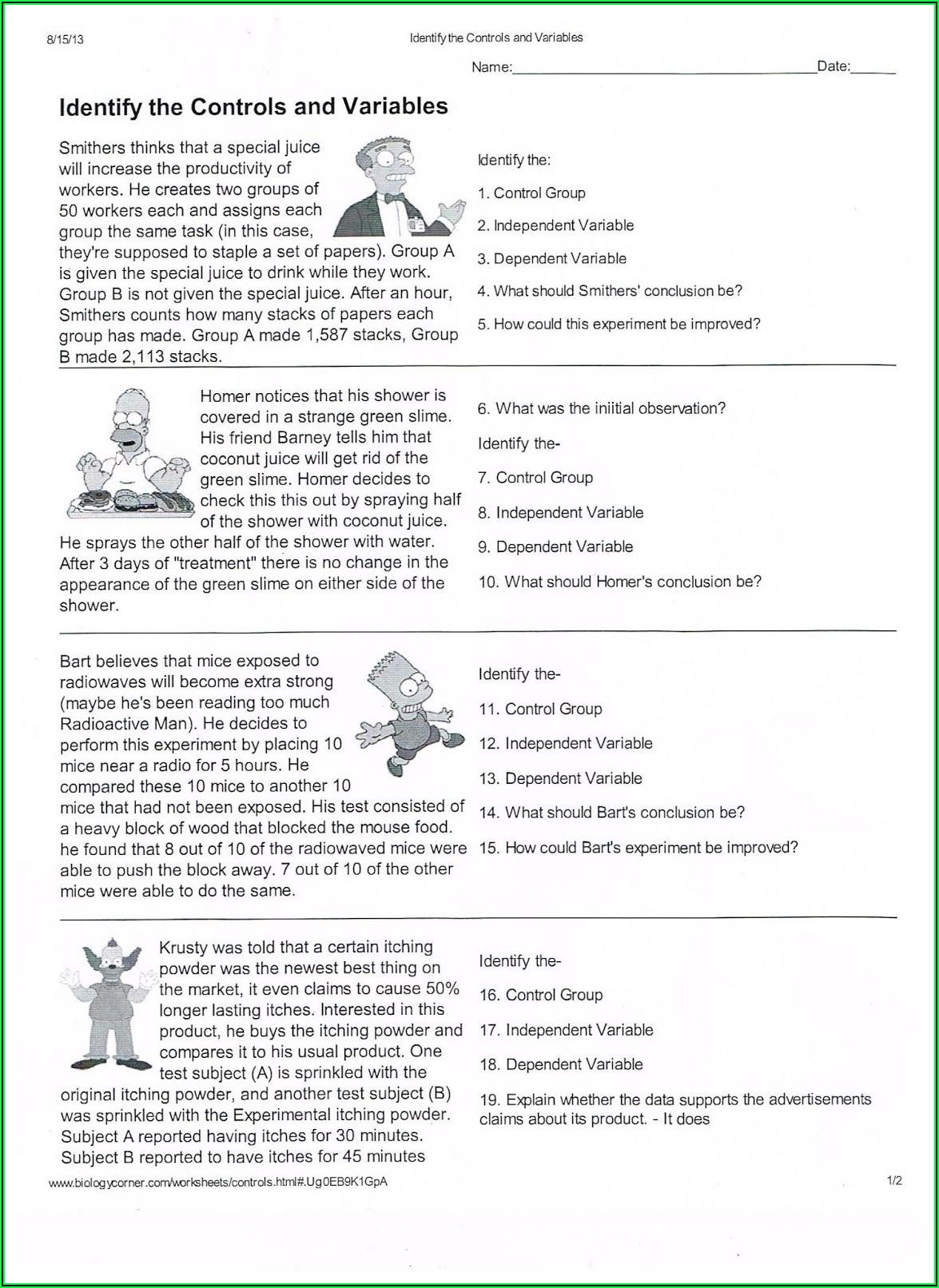 Scientific Method Practice Worksheet Answer Key