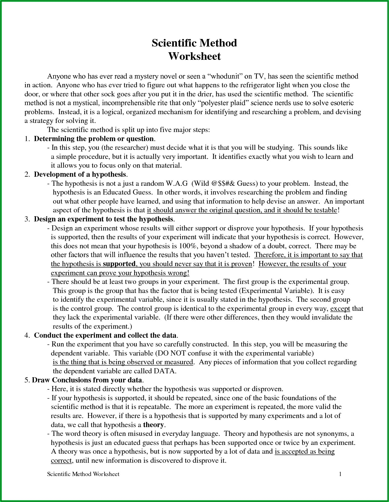 Scientific Method Practice Worksheet Pdf Answer Key