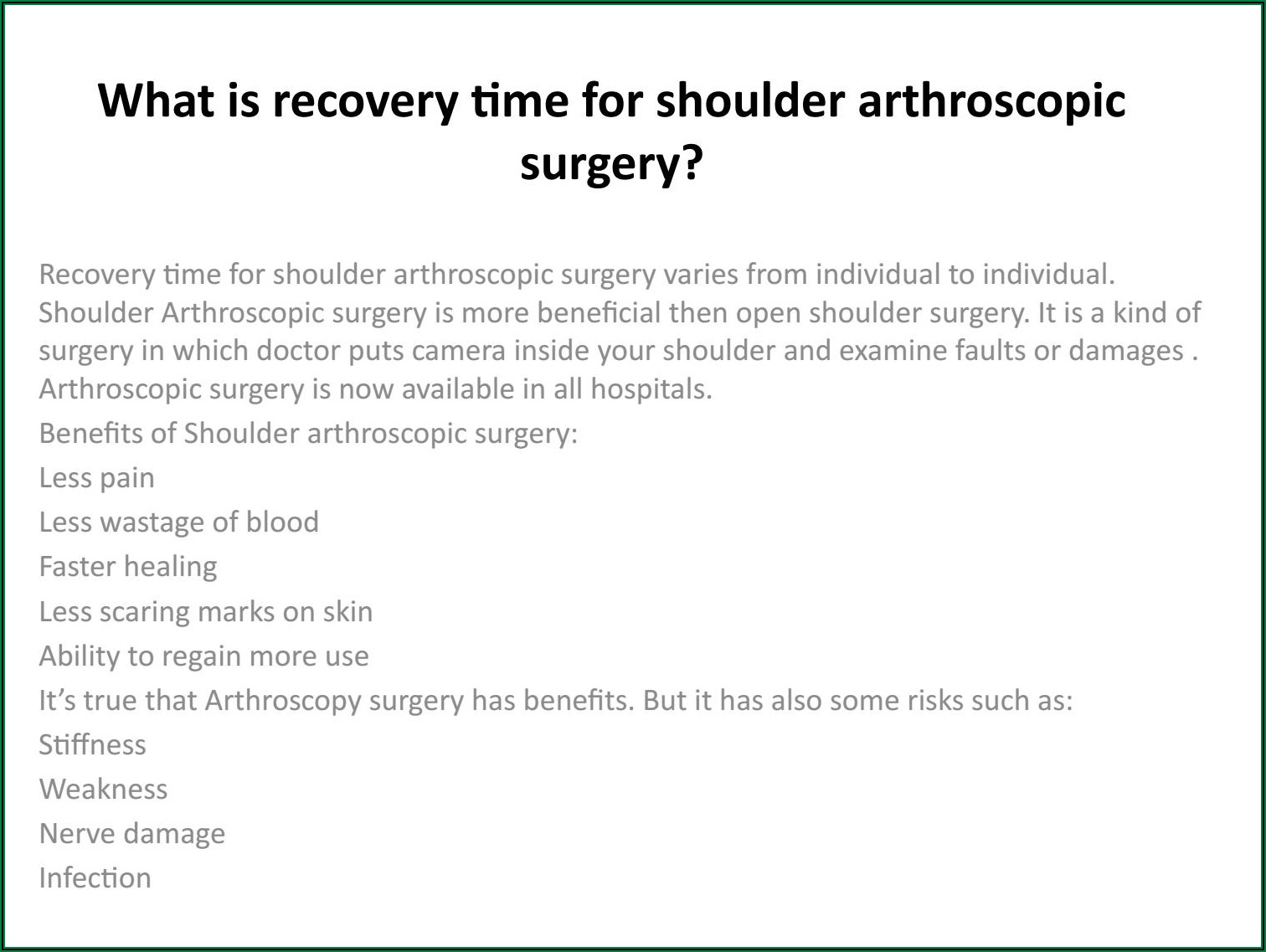 Shoulder Surgery Recovery Time Arthroscopic