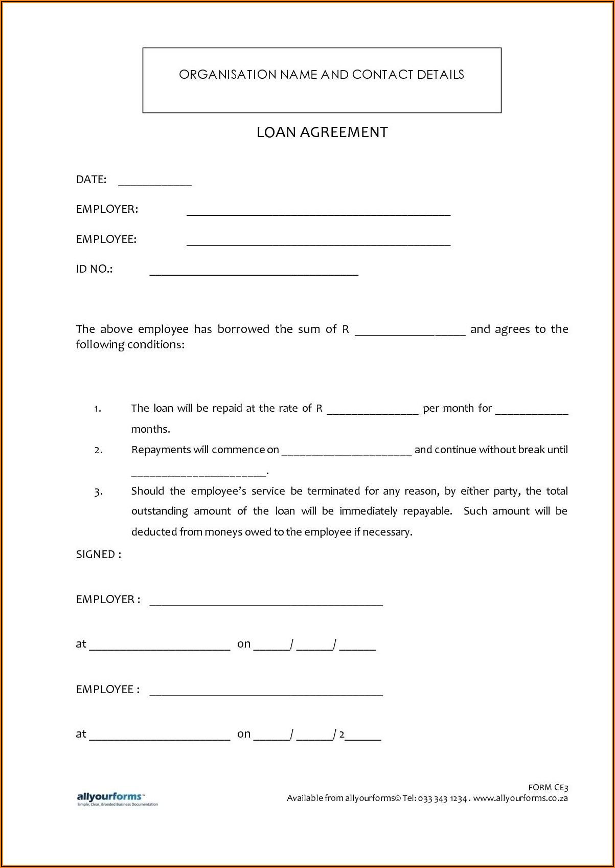 Staff Loan Agreement Template Word