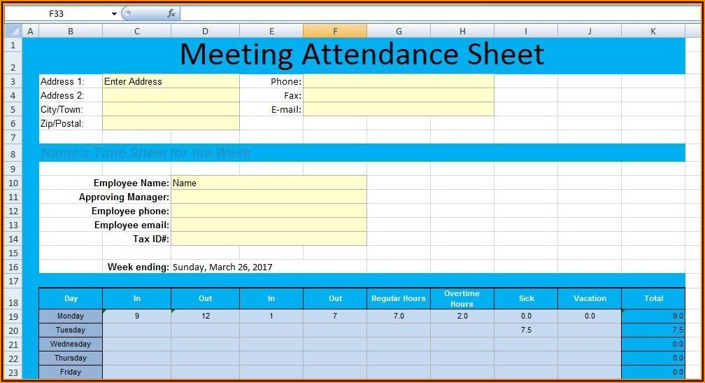 Staff Meeting Attendance Sheet Template