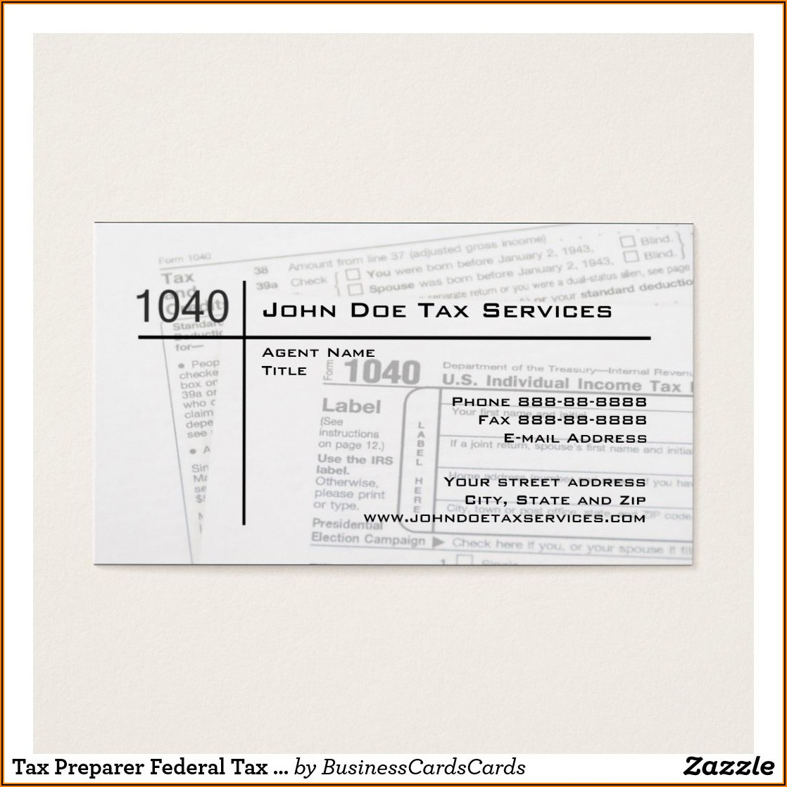 Tax Preparer Business Cards Example