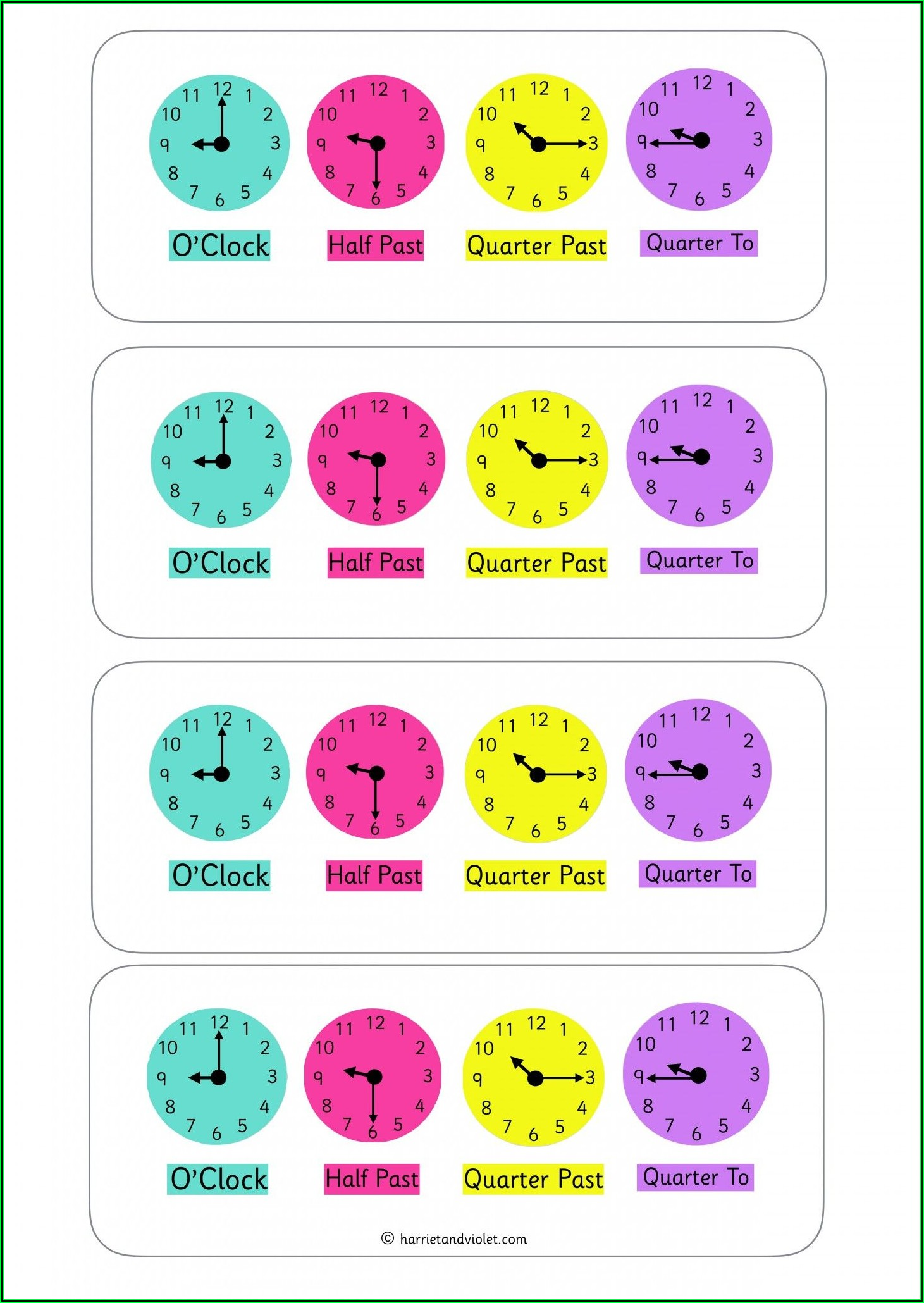 Telling The Time Worksheets Eyfs