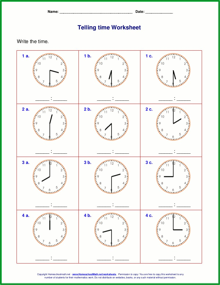 Telling The Time Worksheets Reception