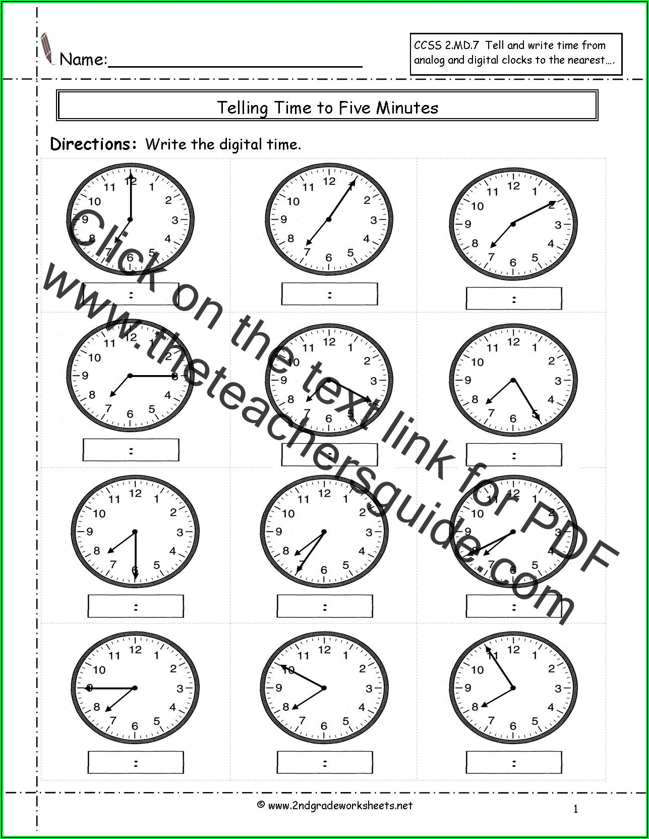 Telling Time Worksheets 3rd Grade Pdf