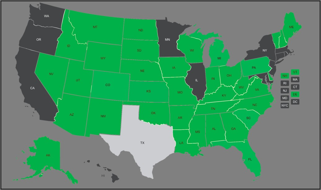 Texas Concealed Carry Reciprocity Map