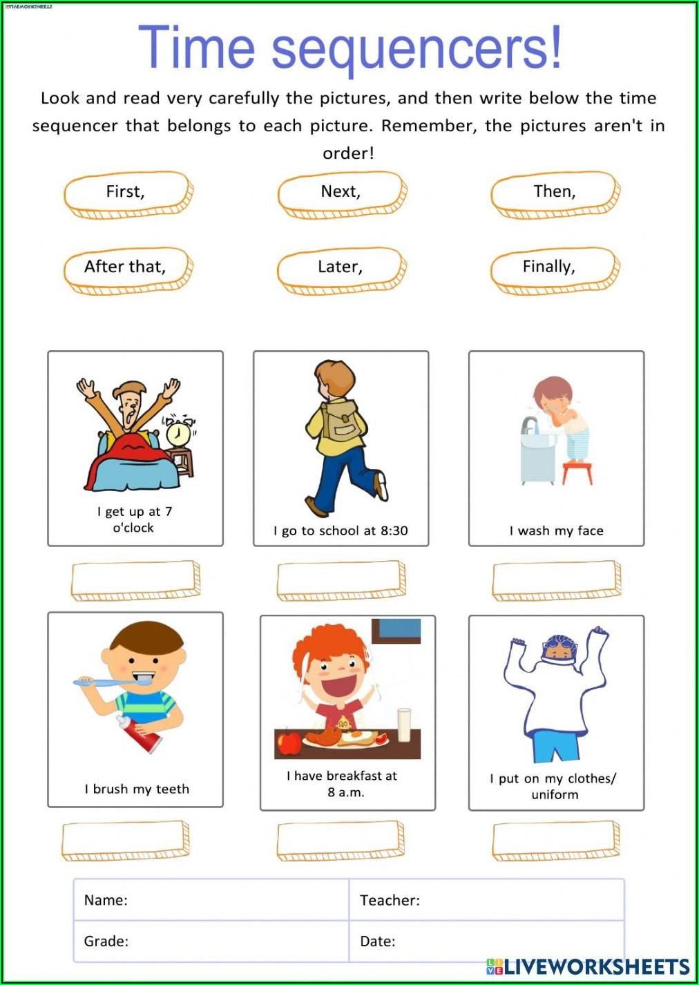 Time Order Words Worksheet 2nd Grade