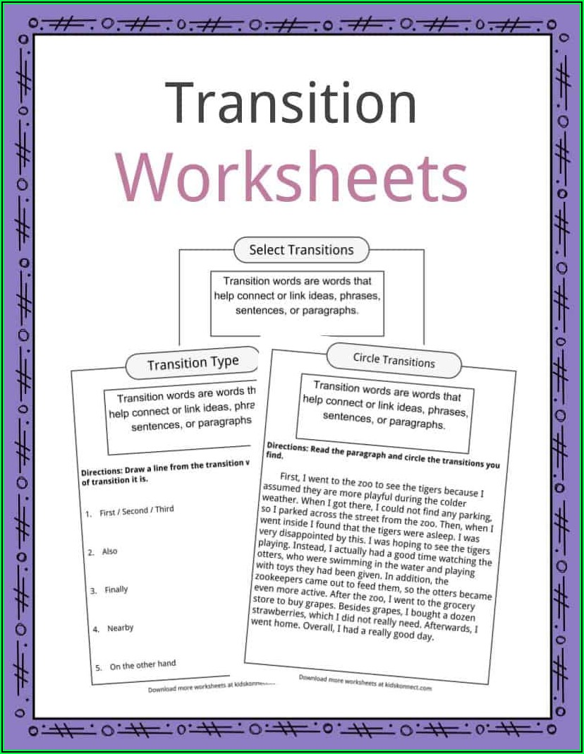 Transition Words Lesson Plans First Grade