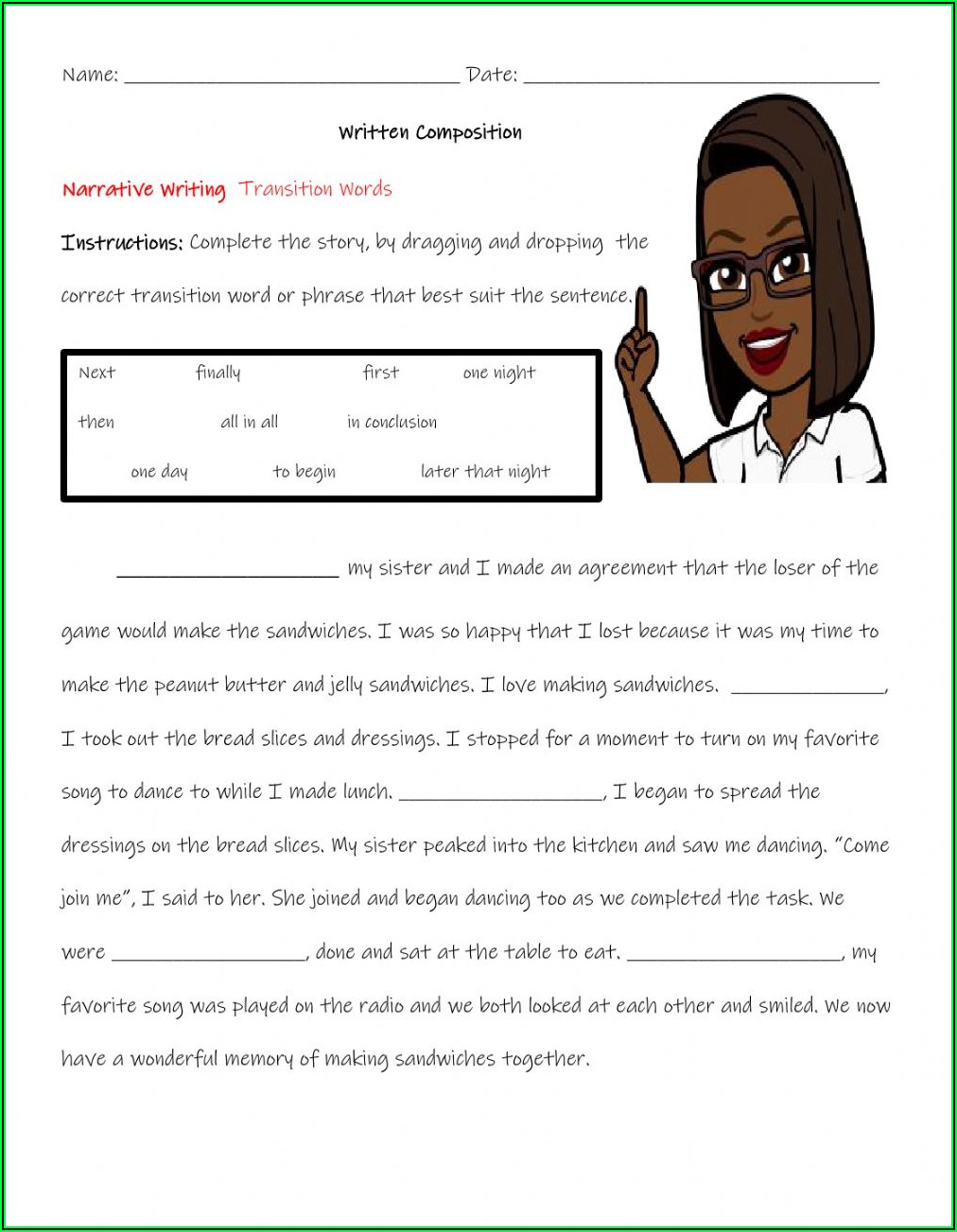 Transition Words Worksheet 1st Grade