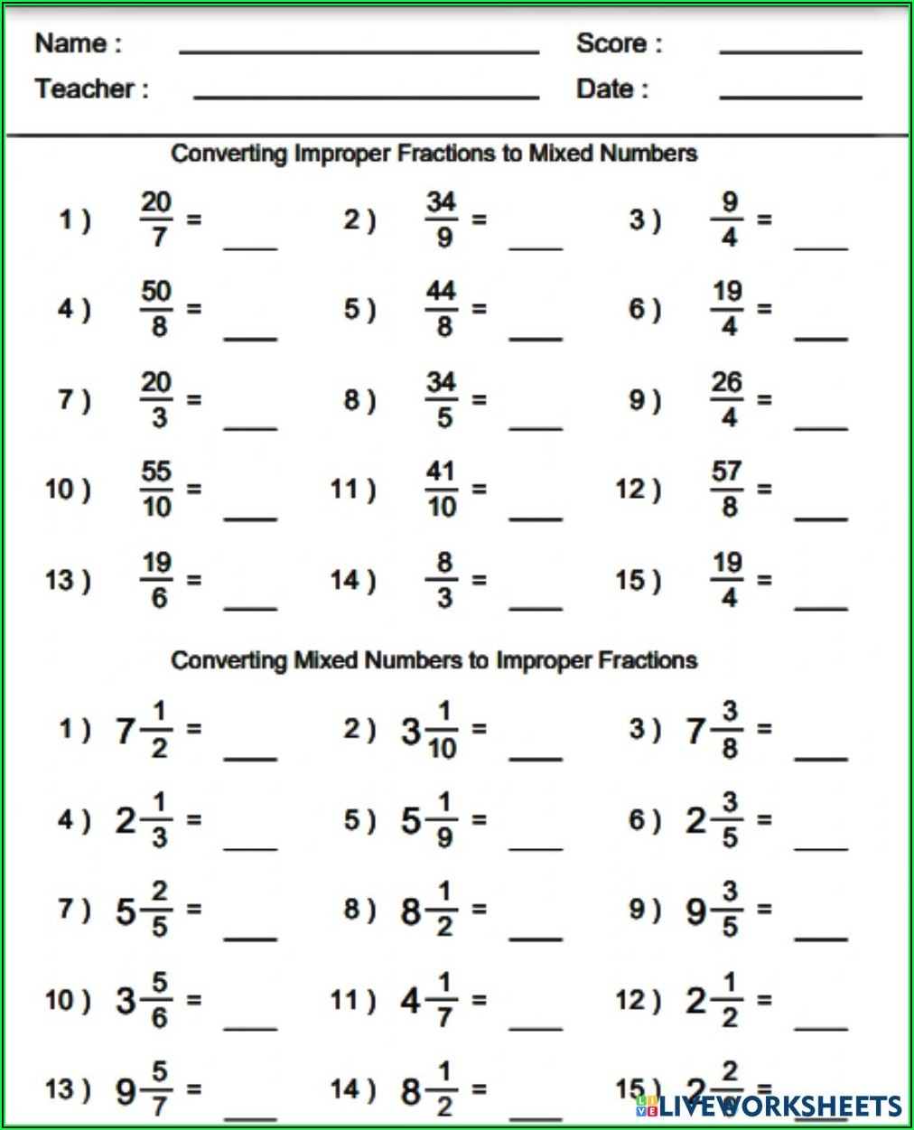 Turning Improper Fractions To Mixed Numbers Worksheet