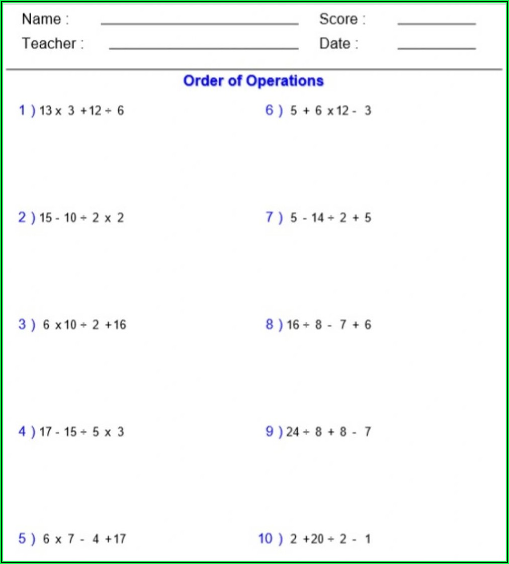 Using Order Of Operations Worksheet Answer Key