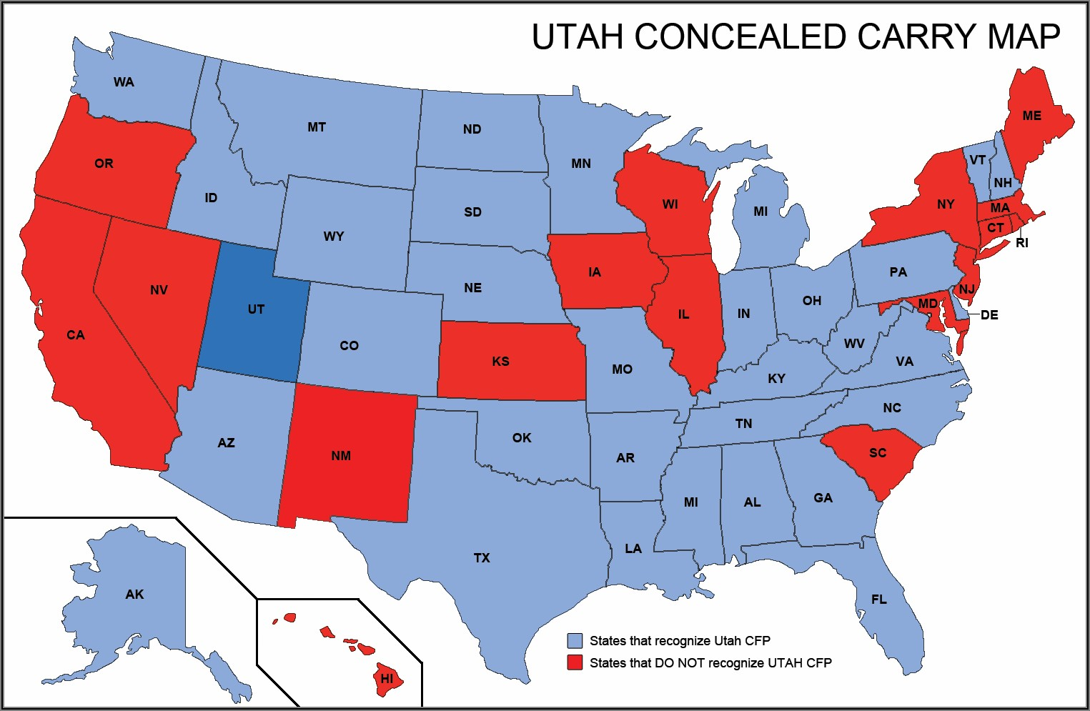 Utah Concealed Carry Reciprocity Map