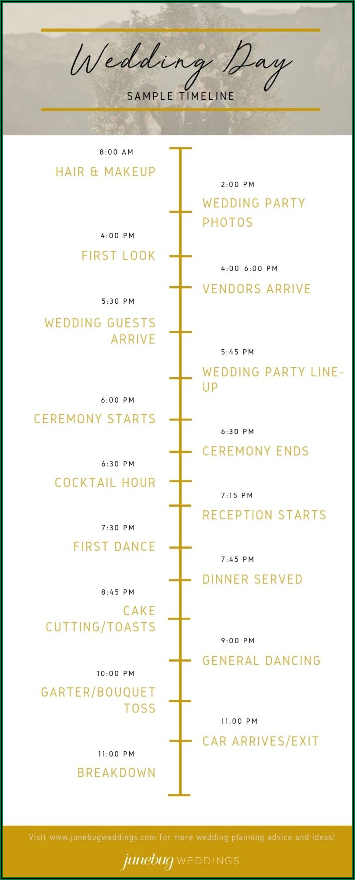 Wedding Day Timeline 430pm Ceremony