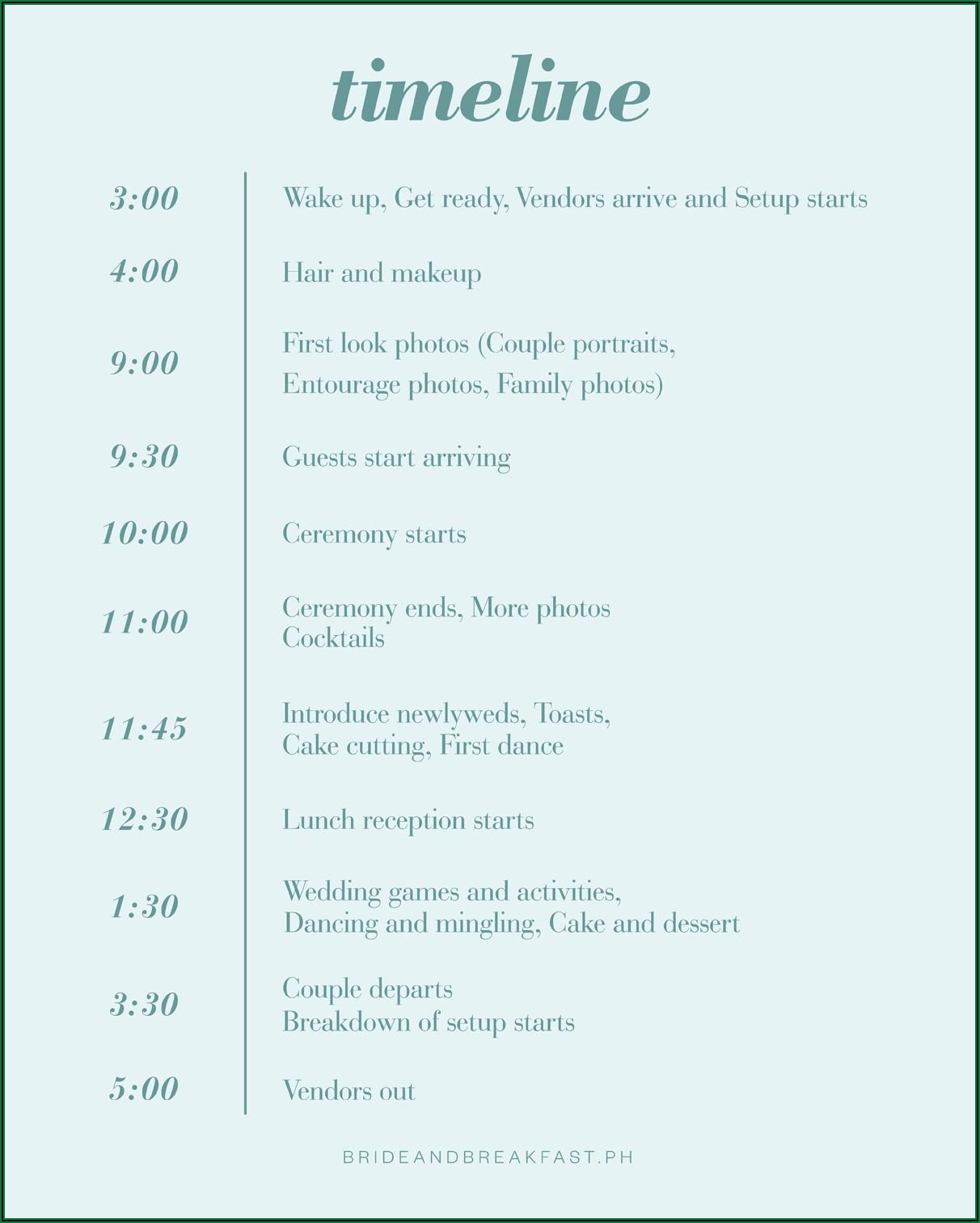 Wedding Day Timeline Template 2pm Ceremony