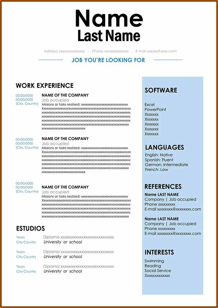 Word Format For Resume Free