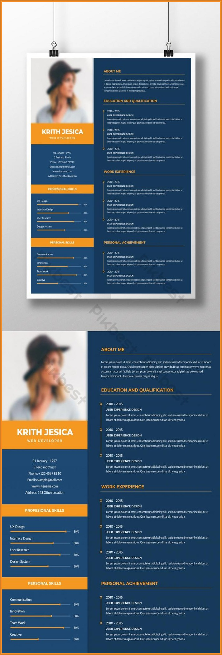 Word Resume Template With Photo Free Download