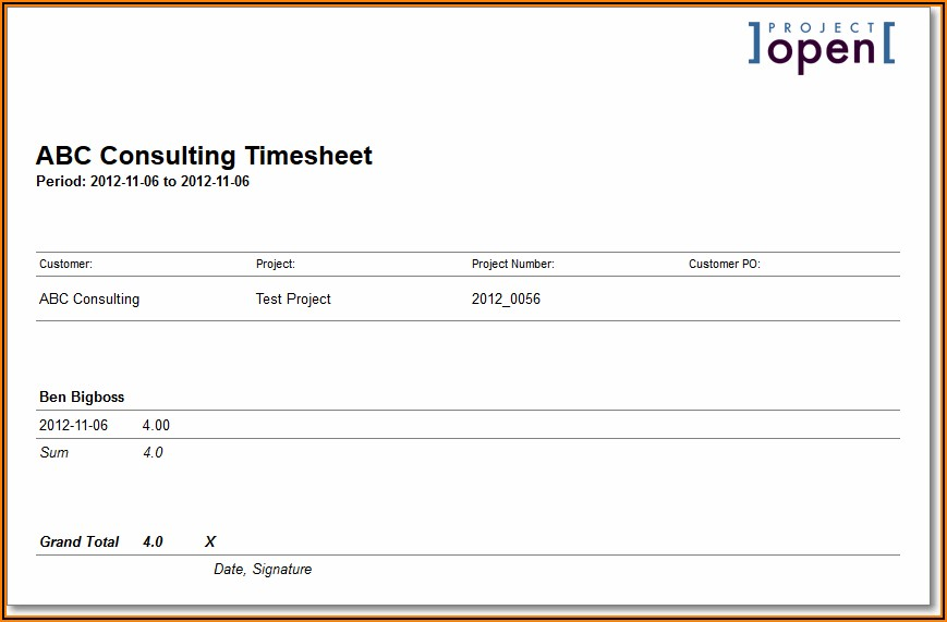 Word Template For Timesheet