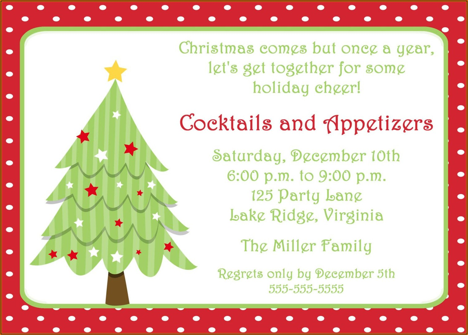 Word Templates For Holiday Invitations