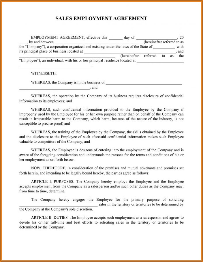 Work Contract Template Usa