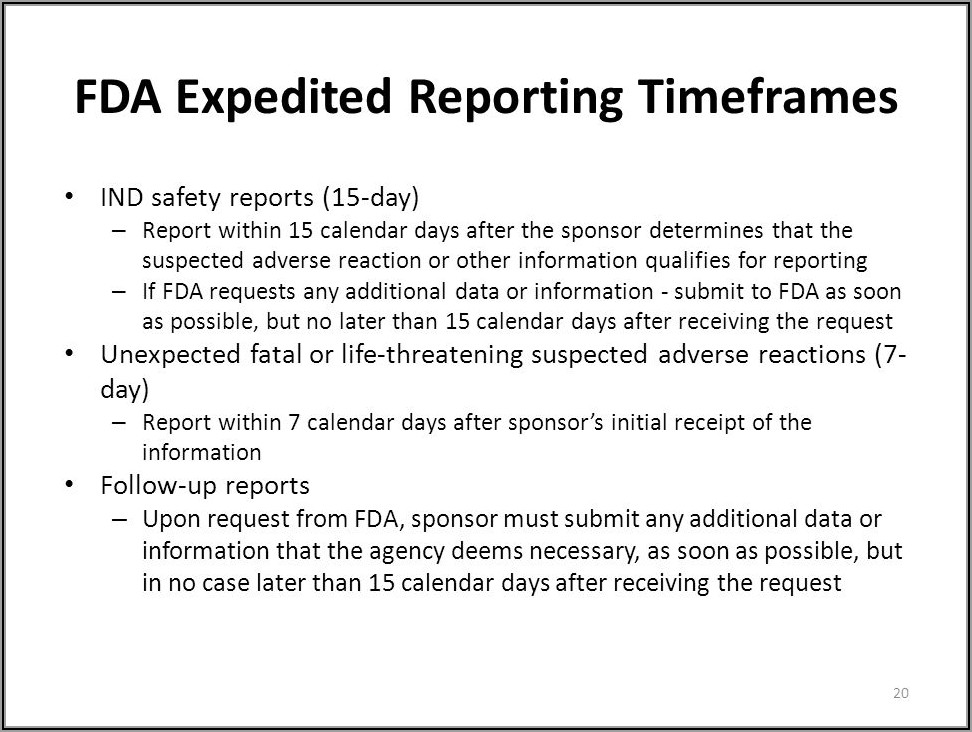 Adverse Event Reporting Timelines Fda