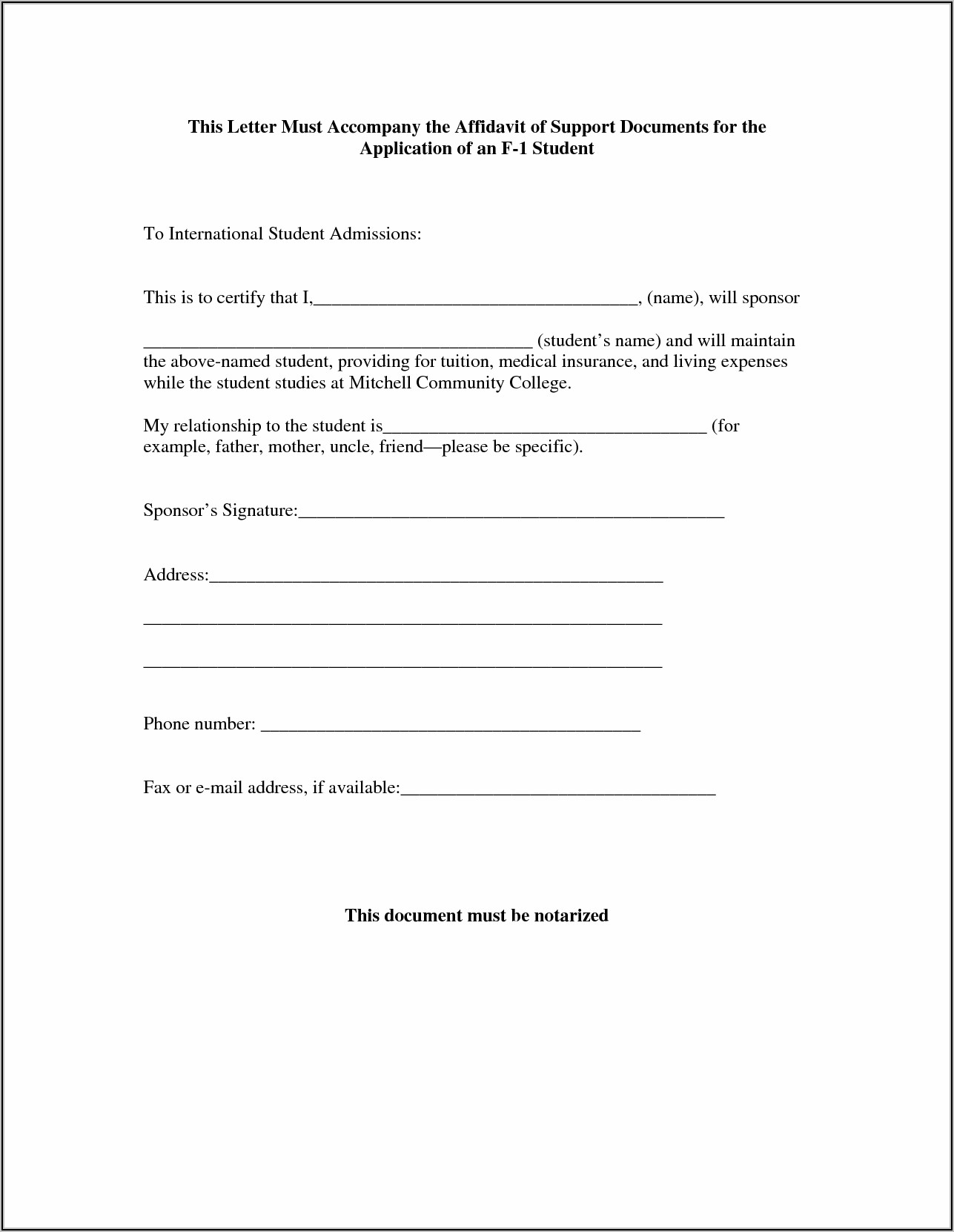 Affidavit Letter For Immigration Marriage Example Pdf