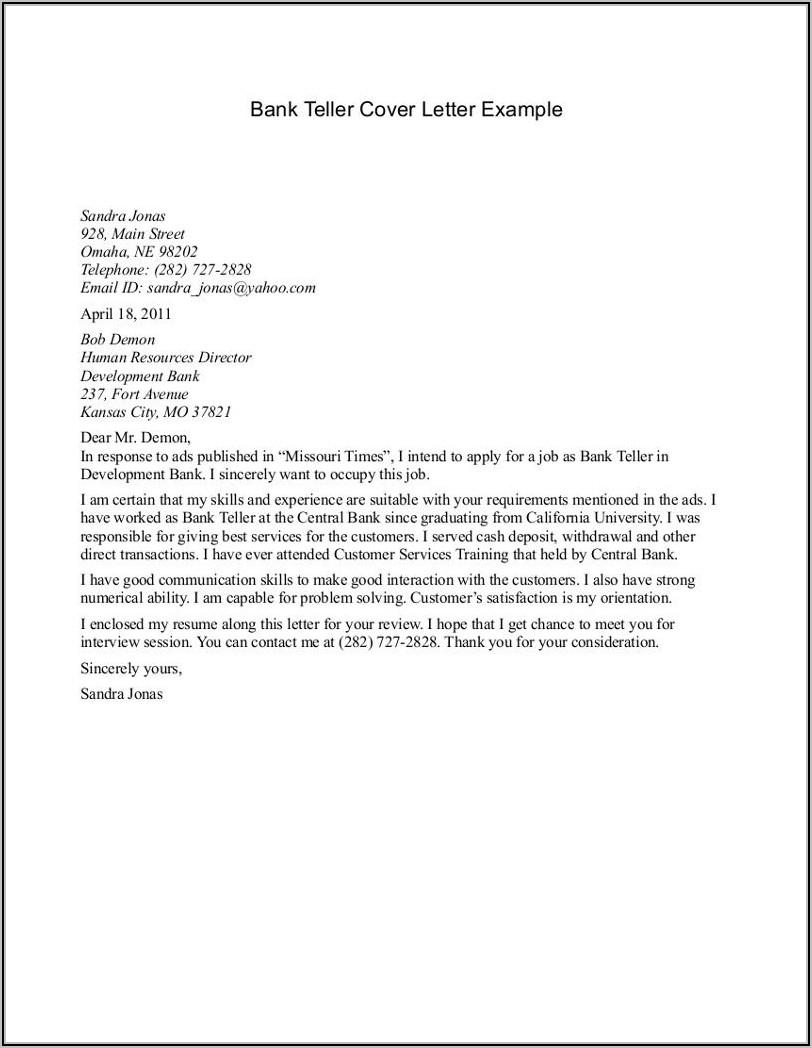 Application Letter For A Bank Teller Job