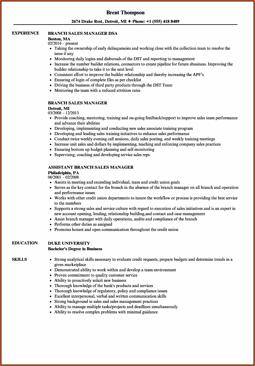 Area Sales Manager Cv In Word Format