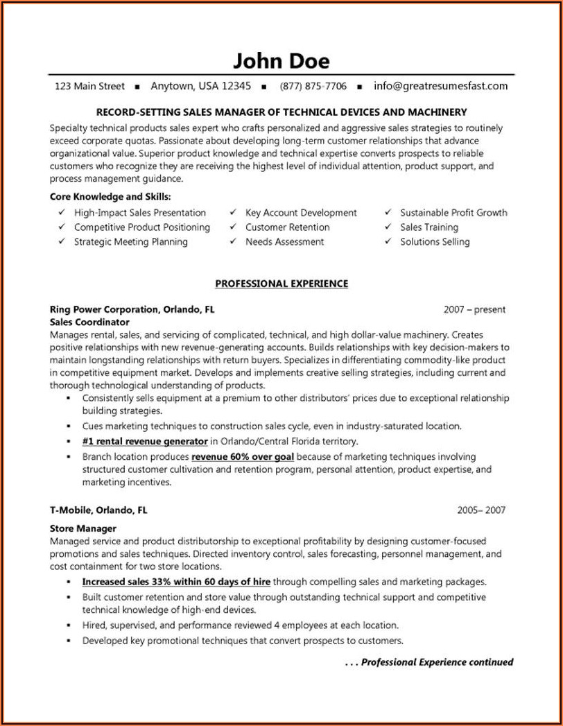 Area Sales Manager Resume Format Download