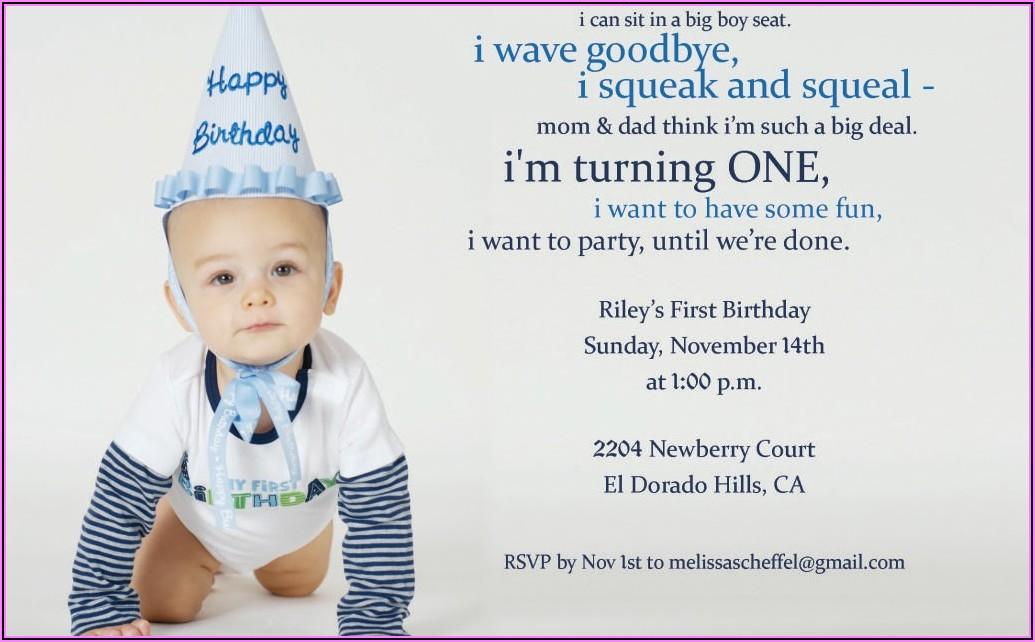 Baby Boy First Birthday Invitation Message