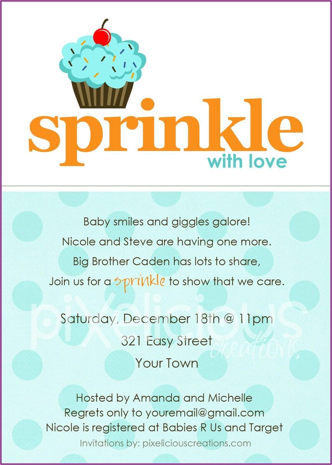 Baby Boy Sprinkle Invitations Wording