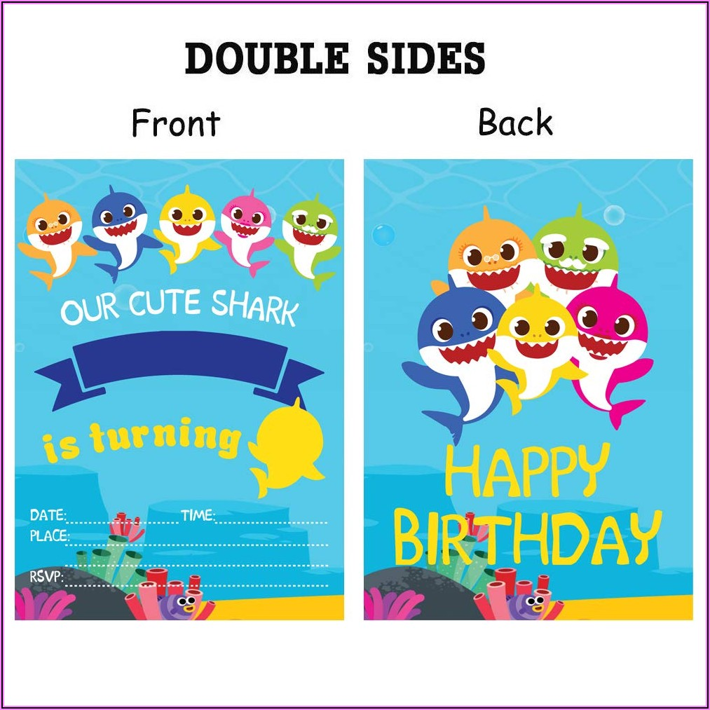 Baby Shark Birthday Invitation Card Template
