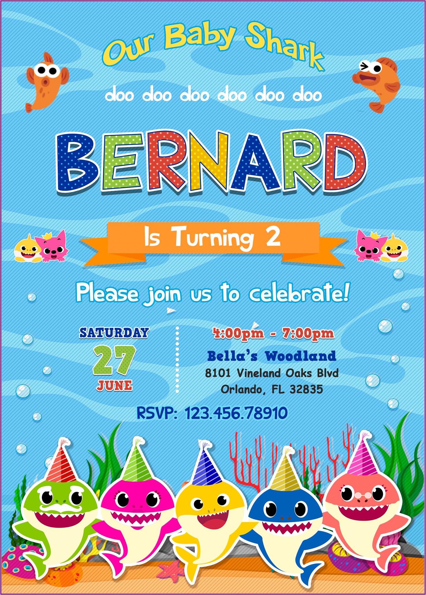 Baby Shark Birthday Invitation Digital