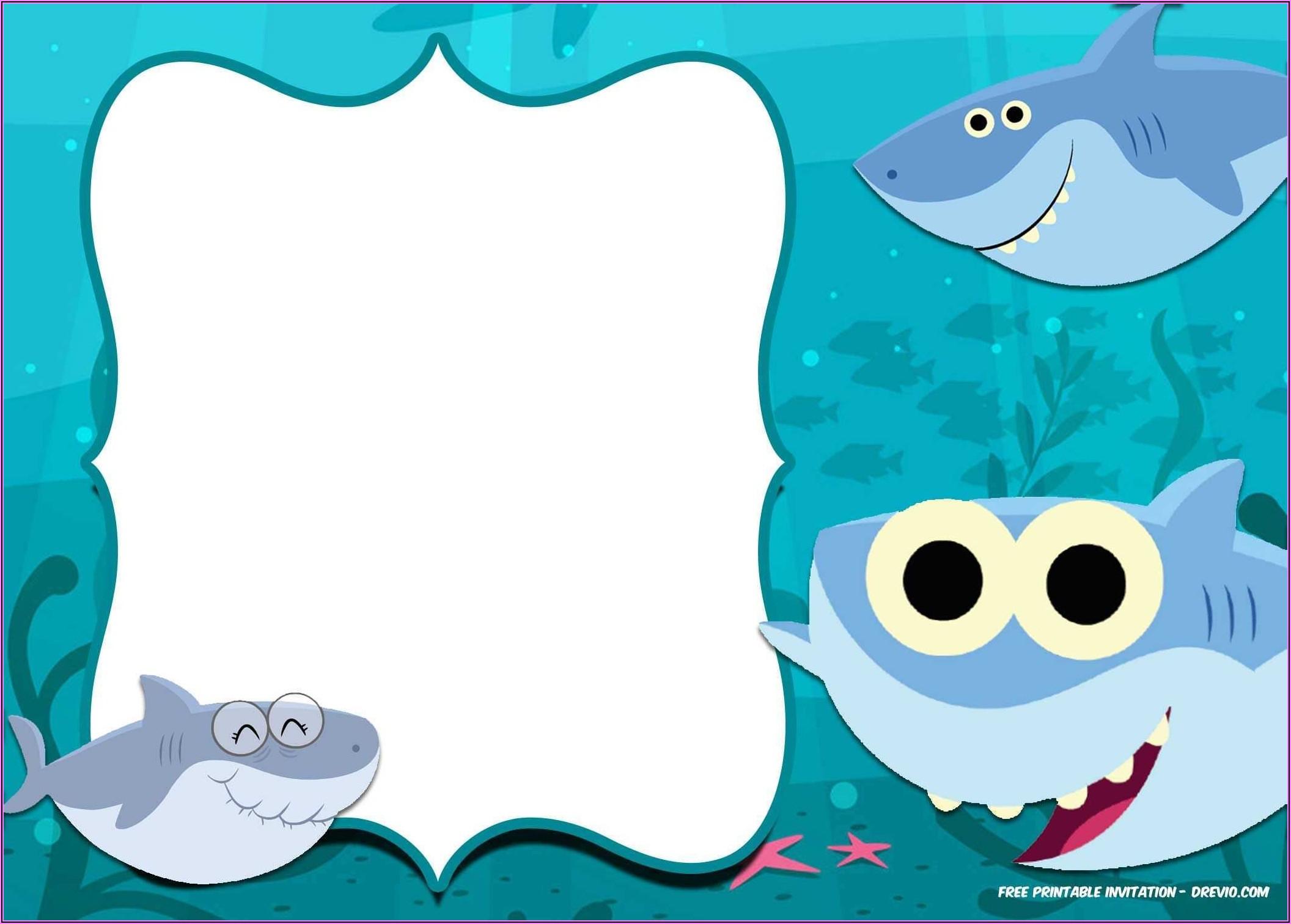 Baby Shark Birthday Invitation Free Template