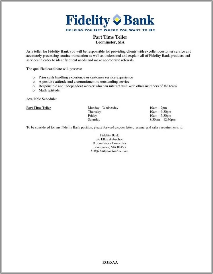 Bank Teller Cover Letter Pdf